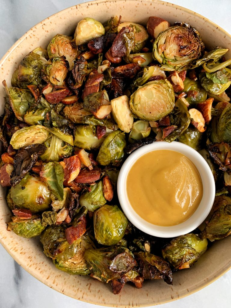 Easy Honey Mustard Brussels Sprouts with Toasted Almonds for a delicious and healthy brussels sprouts recipe!