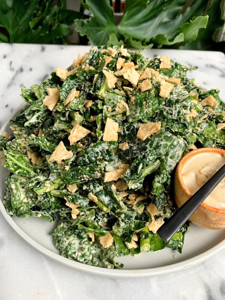The Best Vegan Creamy Tahini Caesar Salad made an easy 5-ingredient caesar dressing and tossed with delicious gluten-free breadcrumbs!