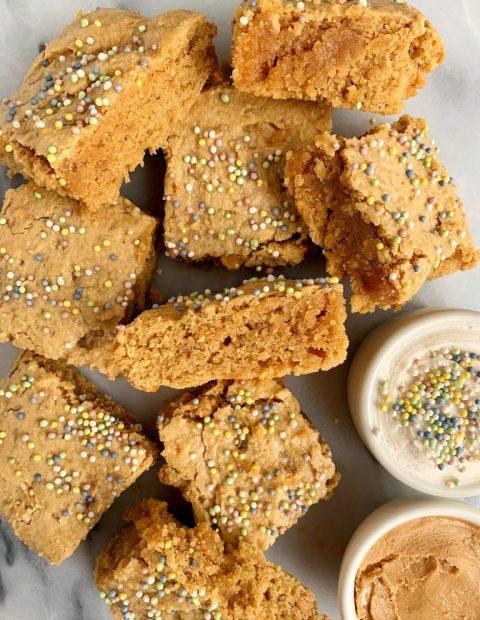 Healthy Cake Batter Blondies (gluten-free + grain-free)