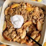 The Best Paleo Apple Pear Crisp Ever made with a mix of apple and pears and topped with a gluten-free and refined sugar-free crumb topping.