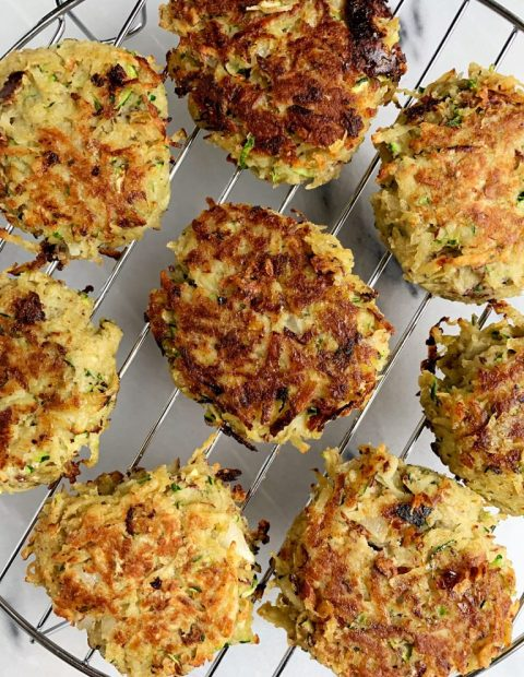 Paleo Japanese Sweet Potato and Zucchini Latkes