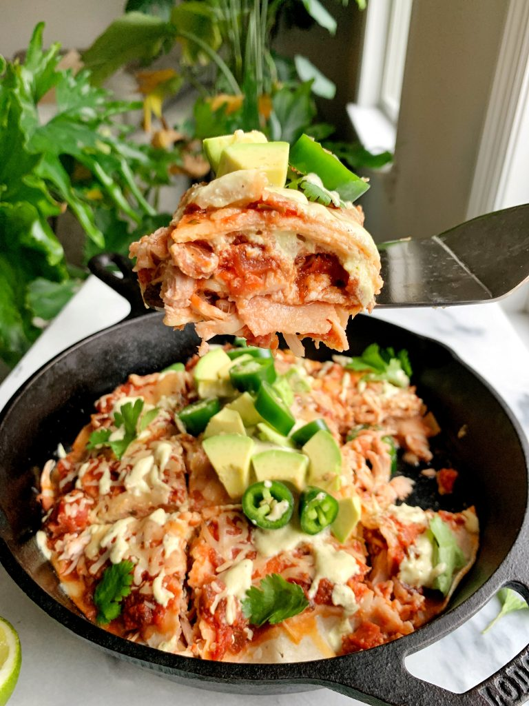 This is the BEST Healthy Gluten-free Enchilada Pie. Ready in 15-minutes this is a quick and easy dinner for the entire family to enjoy.