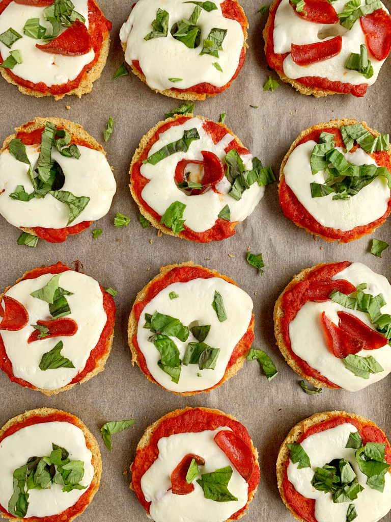 Healthy Homemade Pizza Bagels made with all gluten-free and grain-free ingredients. A healthier version of a childhood classic we all love!