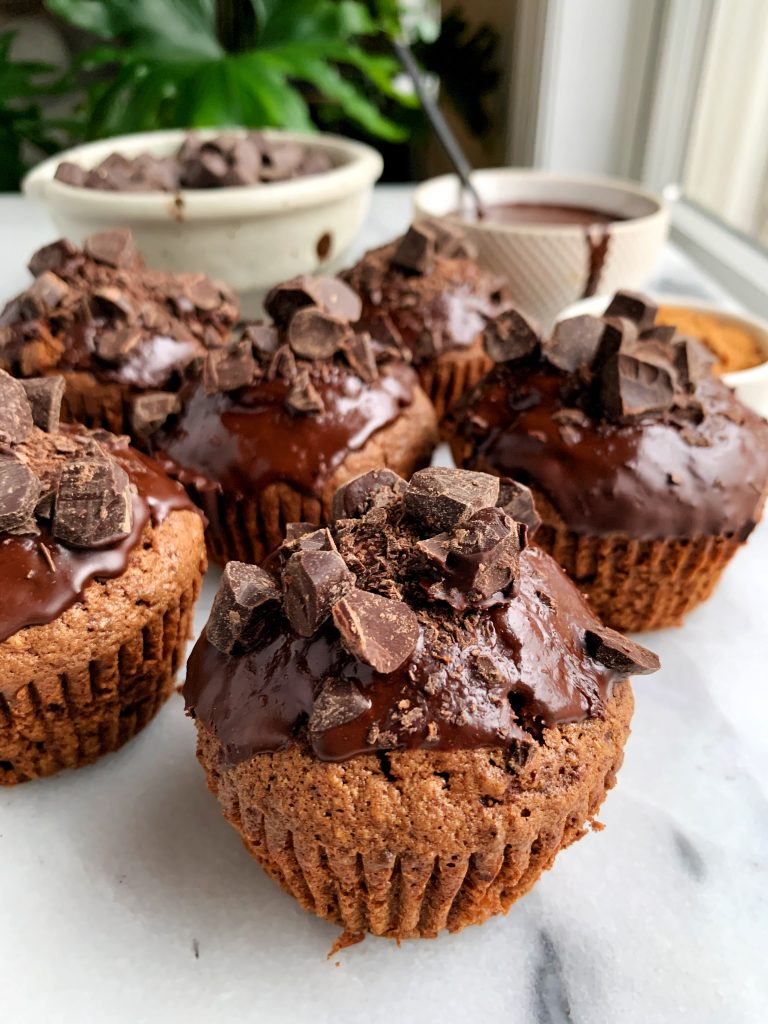The Best Healthy Chocolate Cupcakes made with gluten + nut-free ingredients like oat flour, coconut sugar and topped with a delicious chocolate glaze.