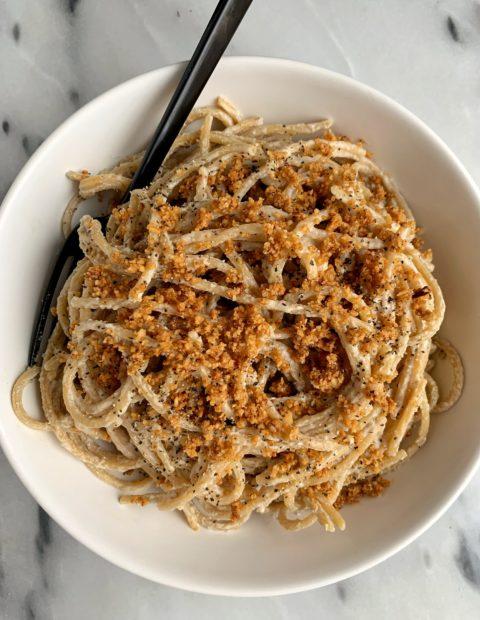 "Vegan Tahini Alfredo with Pine Nut ""Parmesan"""