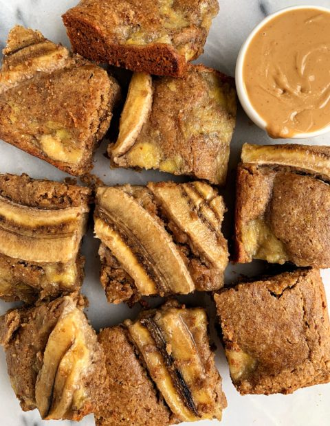 Healthy Caramelized Banana Bread Blondies (vegan + gluten-free)