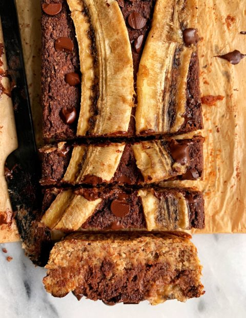 Paleo Chocolate Swirl Banana Bread (vegan)