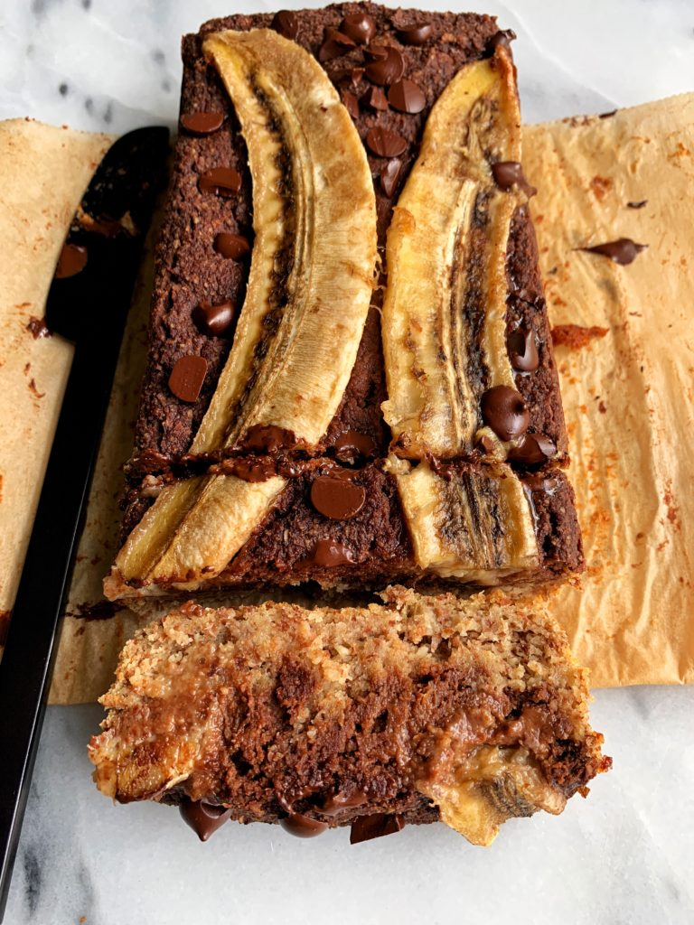 Paleo Chocolate Swirl Banana Bread made with all vegan and gluten-free ingredients like almond flour, maple syrup and flax egg.
