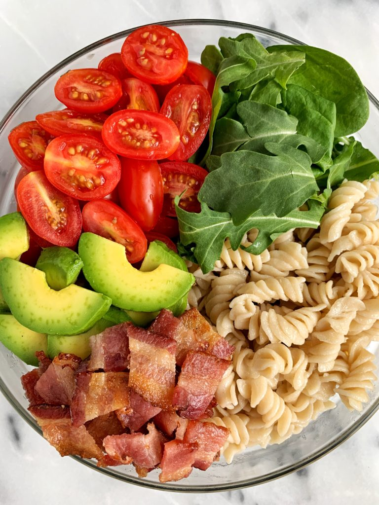 The Easiest Healthy BLT Pasta Salad made with all gluten-free ingredients. The perfect side dish for a BBQ or to enjoy as the main course for a lighter meal.