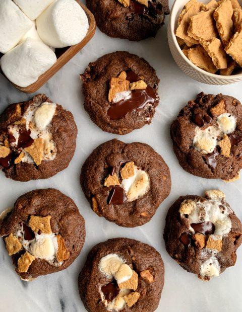The BEST Healthier S'mores Cookies