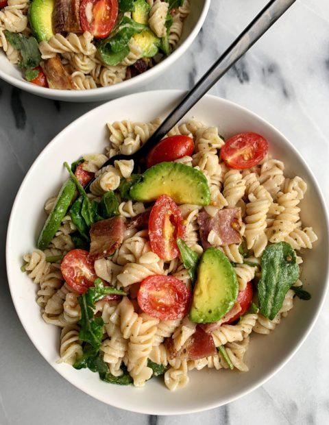 The Easiest Healthy BLT Pasta Salad (gluten-free)