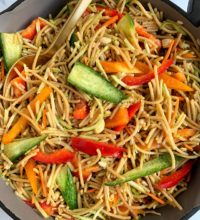 Healthier Gluten-free Vegetarian Lo Mein