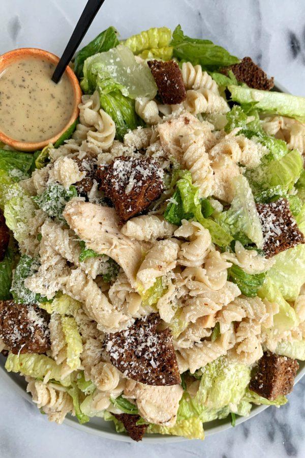 Chicken Caesar Pasta Salad with Gluten-free Croutons