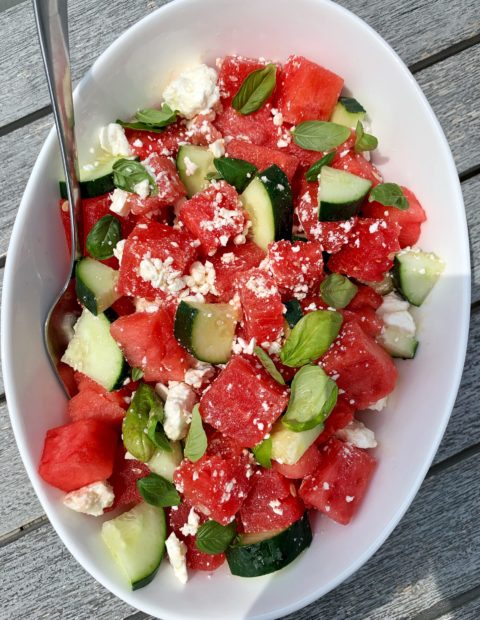 Watermelon Salad with Feta, Cucumber + Basil