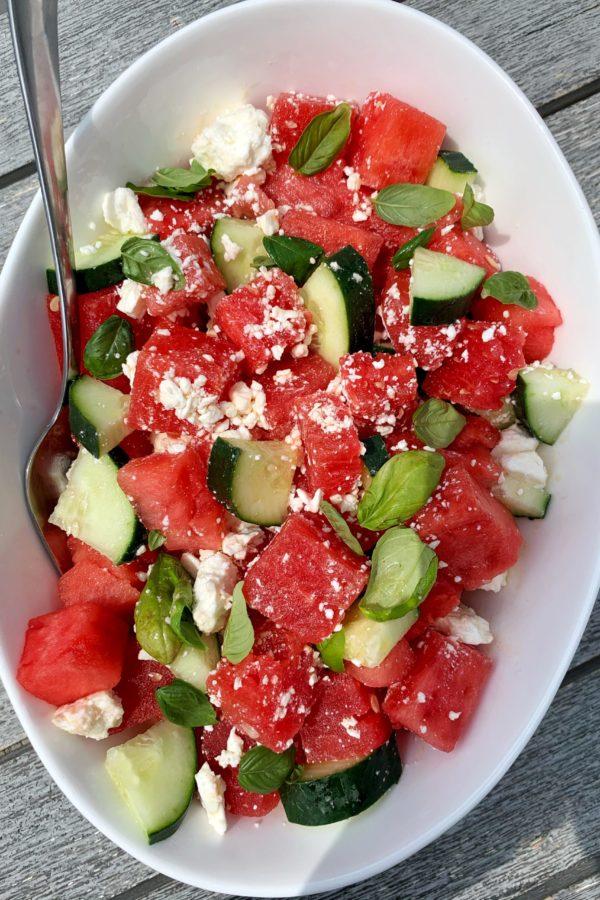 Watermelon Salad with Feta, Cucumber + Basil