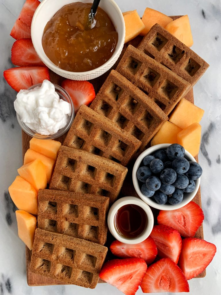 The cutest breakfast spread that my toddler absolutely loves! Toaster waffles, fresh fruit, coconut yogurt plus my homemade peach jam that is so easy to make and has quickly become a staple here.