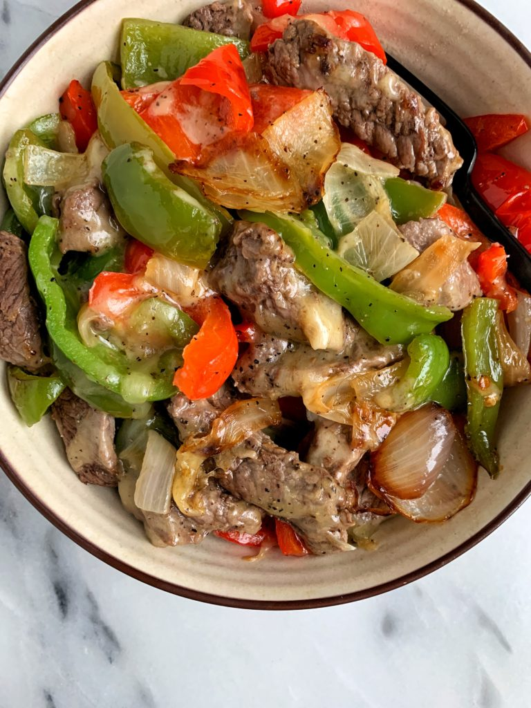 The most INSANE Philly Cheesesteak Skillet ready in 15 minutes in one skillet. This recipe is a healthier version of one of my personal favorite foods and you can enjoy it on top of a salad or on your favorite toasted bread.