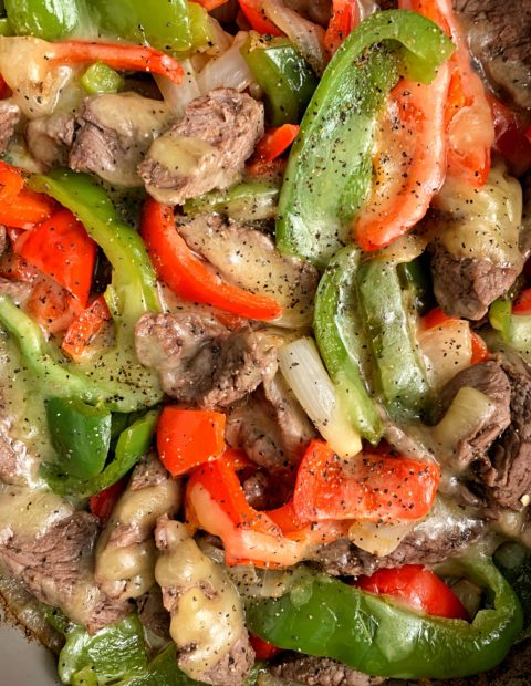 Insanely Easy Philly Cheesesteak Skillet