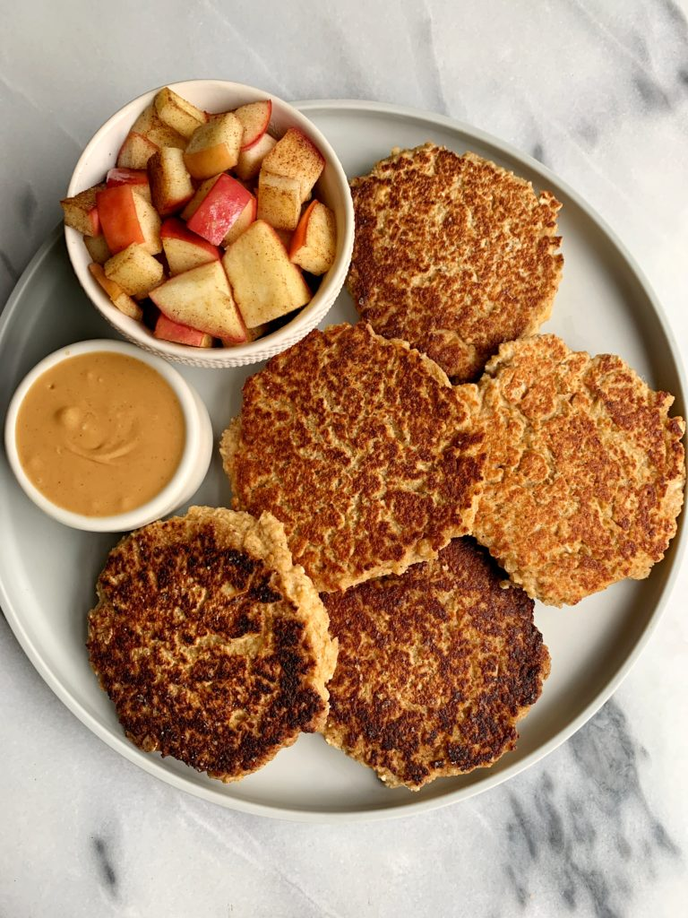 The BEST apple pancake recipe ever! These healthy Apple Pie Oatmeal Pancakes are so easy to make and they are gluten-free, dairy-free and have no added sugar in them. Topped with a dreamy caramelized cinnamon apples.