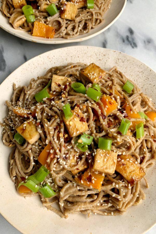 Healthy Chili Peanut Noodles with Crispy Sesame Tofu