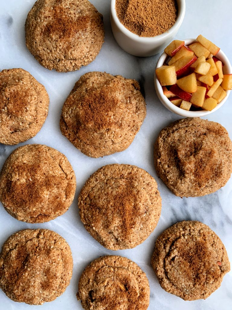 These Gluten-free Apple Pie Stuffed Snickerdoodle Cookies are truly one of the best cookies ever. A healthier fall twist on a classic cookie recipe and they're made with all vegan ingredients.