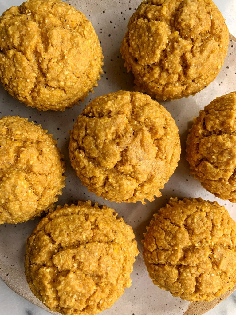 Deliciously Healthy Pumpkin Corn Muffins made with all gluten-free ingredients. Just a little sweet and made with all dairy-free and nut-free ingredients. Such a yummy fall twist to a classic corn muffin!