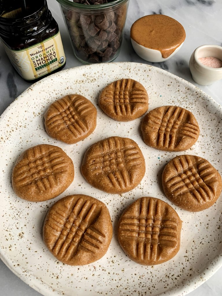These easiest 3-ingredient No Bake Peanut Butter Cookies are the ultimate quick and easy dessert that don't require the oven and they are gluten-free, dairy-free and grain-free.