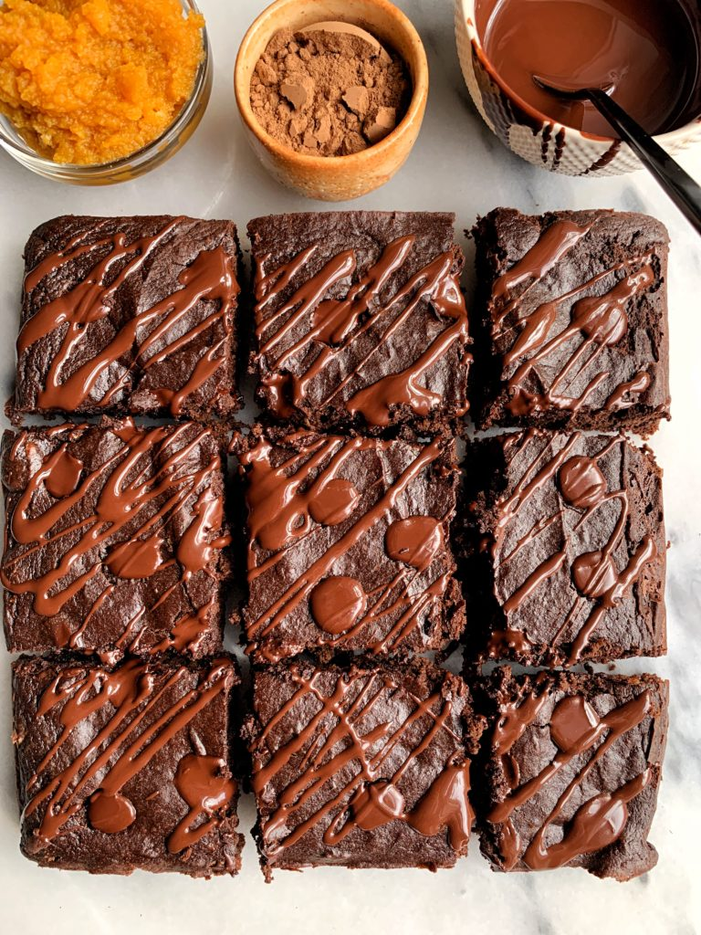 The Best Ever Flourless Paleo Pumpkin Brownies made with all gluten-free and dairy-free ingredients, no refined sugars and these healthier brownies are the ultimate fall dessert everyone will love.