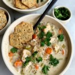 Delicious Paleo Creamy Chicken and Rice Soup made with all gluten-free, dairy-free and Whole30-friendly ingredients. Truly such a cozy, comforting and healthy soup recipe to make that the whole family will love.
