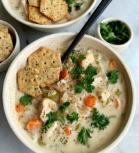 "Delicious Paleo Creamy Chicken and ""Rice"" Soup"