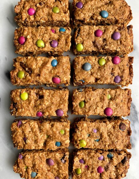 Healthier Gluten-free Monster Oatmeal Cookie Bars