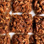 The Best Ever Healthy Pecan Pie Bars made with all paleo and vegan ingredients. A delicious shortbread cookie-like base topped with sweetened pecans and this recipe has no refined sugars, gluten or dairy.