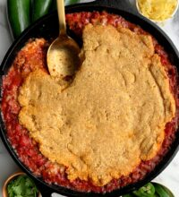 Healthy Bacon + Beef Chili Cornbread Casserole