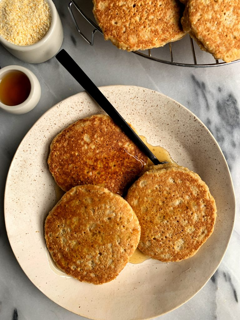Homemade Gluten-free Cornbread Pancakes made with 6 healthy ingredients and ready in just 10 minutes. A delicious nut-free breakfast stack for all the cornbread lovers out there.