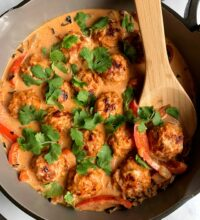 Healthy Thai Turkey Meatballs in Coconut Curry