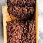 Paleo Brownie Banana Bread with a dreamy chocolate crumb topping! The most delicious and healthy gluten-free and refined sugar-free double brownie banana bread.