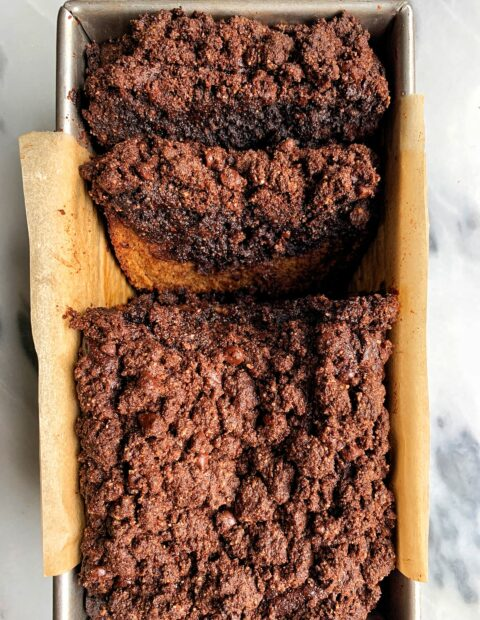Paleo Brownie Banana Bread with Crumb Topping