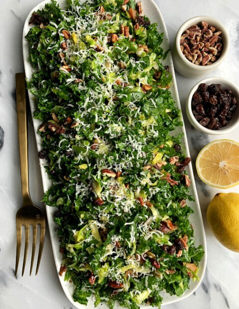 Kale + Brussels Sprout Slaw with Honey Mustard Dressing