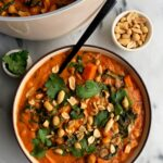 The dreamiest One-Pot Peanut Soup with Chicken + Veggies made with all gluten-free and dairy-free ingredients. This soup is such a unique and flavorful recipe filled with all wholesome and healthy ingredients.