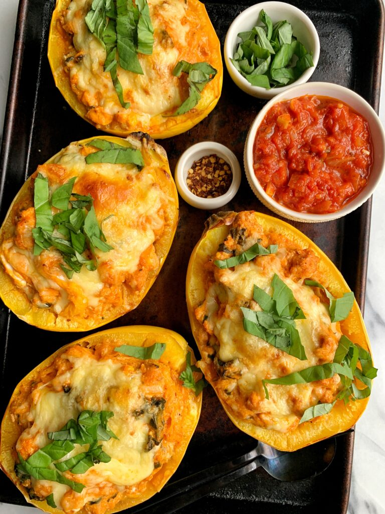 These Paleo Spaghetti Squash Lasagna Boats are a family favorite! A delicious, healthy and easy meal to make using spaghetti squash with a lasagna twist.