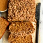 Paleo Cinnamon Streusel Banana Coffee Cake made with all gluten-free and dairy-free ingredients. The most delicious banana bread topped with a streusel crumb topping.