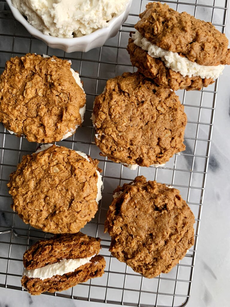 "Healthier Vegan Oatmeal Cream Pies made with all gluten-free ingredients. These are copycat ""Little Debbie Oatmeal Creme Pies"" and SO dreamy and addicting!"