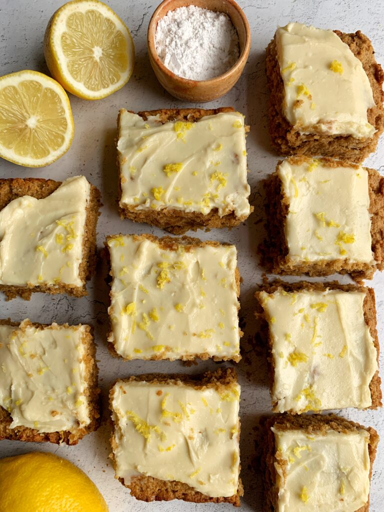 The Best Ever Gluten-free Lemon Cake topped with a delicious homemade lemon cream frosting. An easy and healthy lemon cake recipe ready in just 30 minutes!