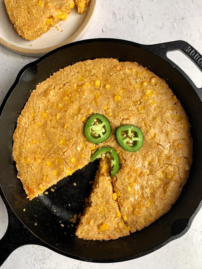 Gluten-free Cheesy Jalapeño Cornbread Skillet made with all nut-free ingredients. A delicious and easy healthier cornbread skillet ready in just 30 minutes.
