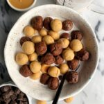 Copycat Gluten-free Reese's Puffs Cereal made with all vegan and dairy-free ingredients. A healthier take on the classic childhood cereal and made with only 5 ingredients!