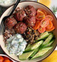 30-minute Healthy Greek Meatballs with Tzatziki Sauce