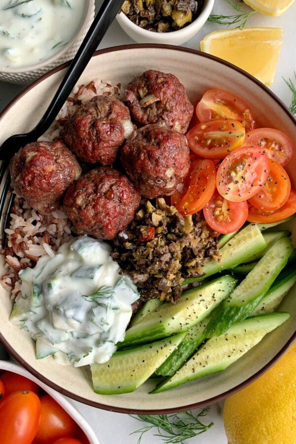 30-minute Healthy Greek Meatballs with Tzatziki Sauce