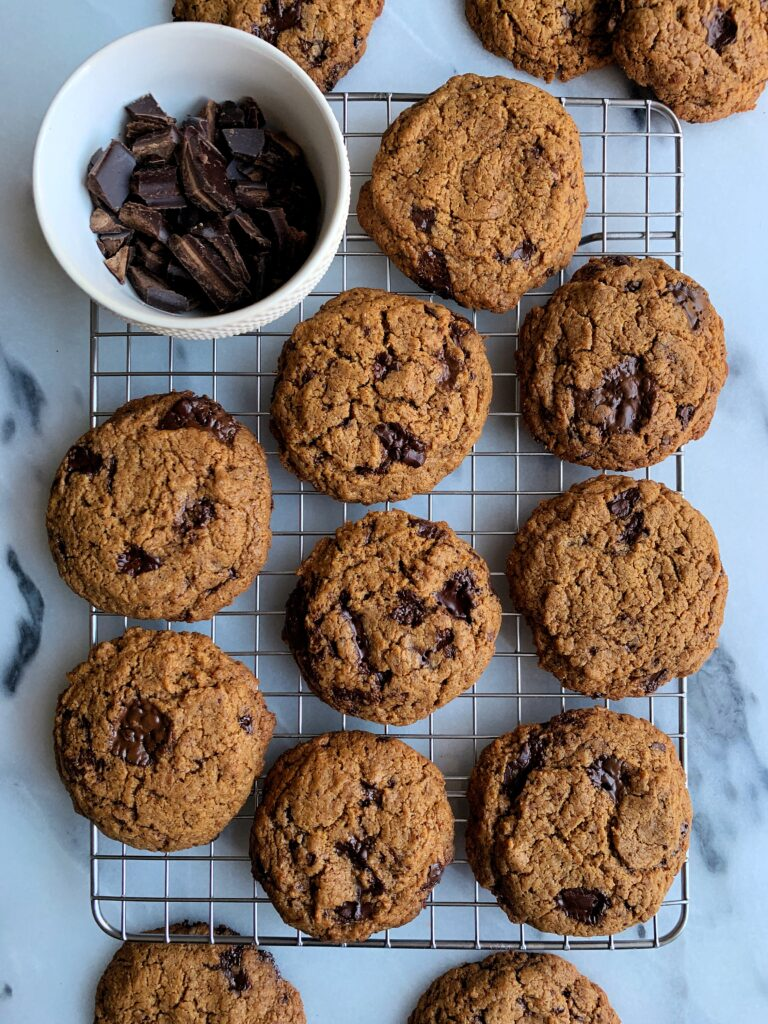 The Best Healthy Crunchy Chocolate Chip Cookies made with all paleo, vegan and gluten-free ingredients and ready in just 15 minutes! No chilling the dough and made with just 7 ingredients.
