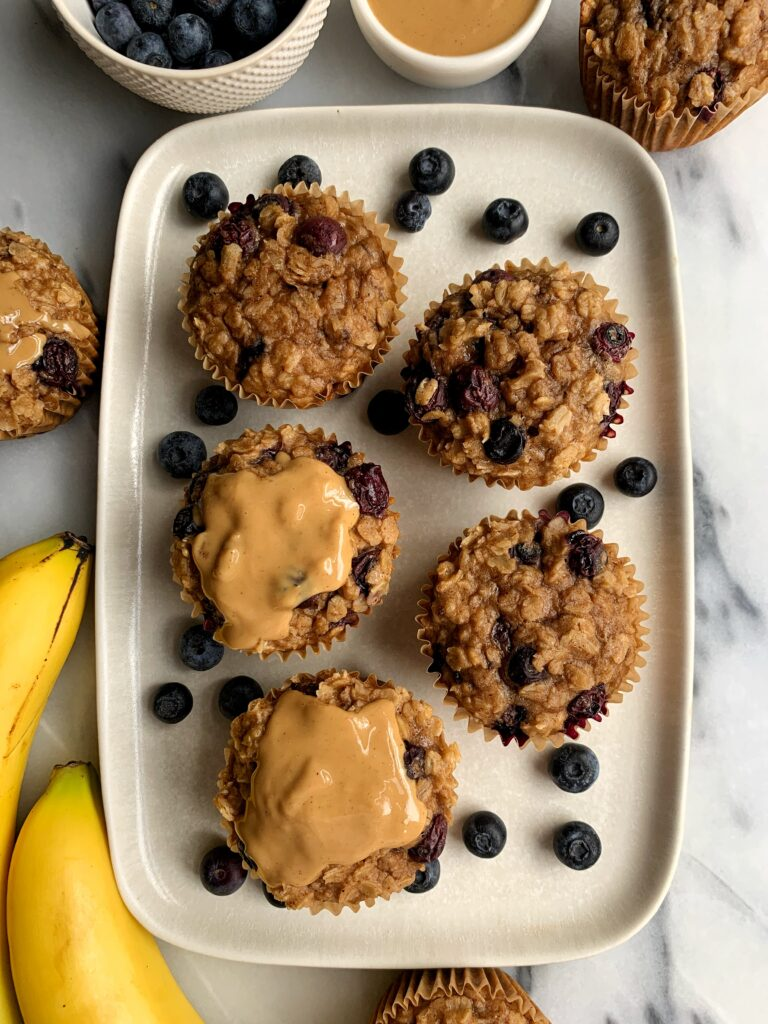 These gluten-free Blueberry Oatmeal Cups are one of my favorite easy and healthy breakfast recipes. They are made with just 5 key ingredients and they're dairy-free and toddler approved!