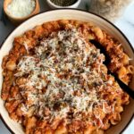 This is the best ever healthy pasta recipe with meat sauce! Gluten-free and made in just 20 minutes, this recipe is a hit in our home and one we crave all the time.